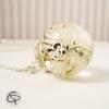 pendentif globe verre sautoir fleurs pissenlit argenté