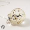 collier pissenlit pendentif globe en verre sautoir argenté