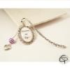 signet métallique nounou au top perle violette coeur