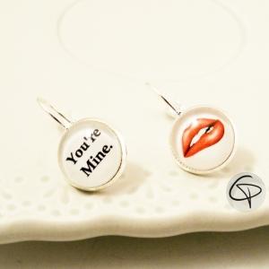Boucles d'oreilles pour femme You Are Mine et bouche sensuelle 50 nuances