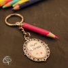 Porte-clé crayon rose fuchsia cadeau maîtresse d'école