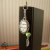 Marque-page métal argenté atsem perle verte feuille