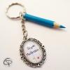 Porte-clef crayon bleu fait main Chat Pristy cadeau maîtresse école fin d'année scolaire
