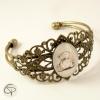 Bracelet manchette bronze dessin Ourson chat pristy