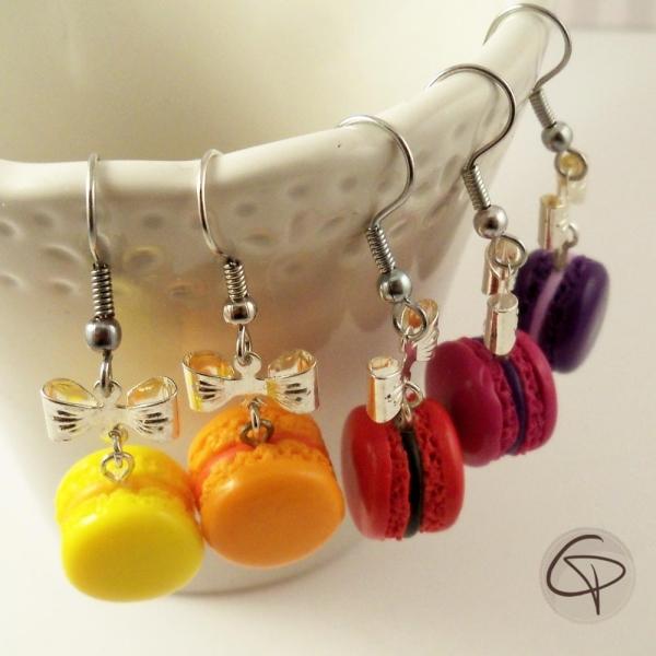 Boucles d'oreilles macarons - bijoux gourmands au choix