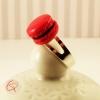 Bague macaron rouge cerise bijou gourmand fantaisie