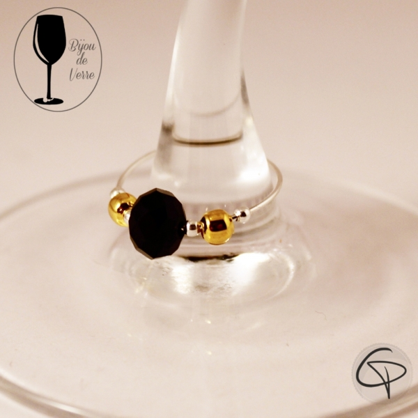 Bijoux pour verre à pied noir et doré