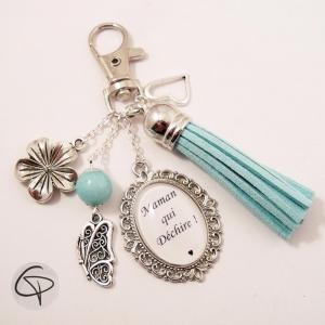 Cadeau original personnalisé mamans porte-clef de sac pompon bleu ciel maman qui déchire
