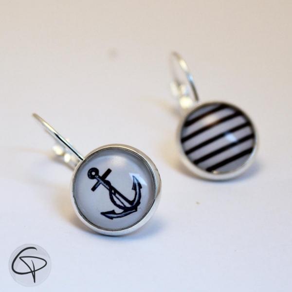 Boucles d'oreilles argentées ANCRE MARINE