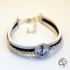 Bracelet argenté suédine ANCRE MARINE