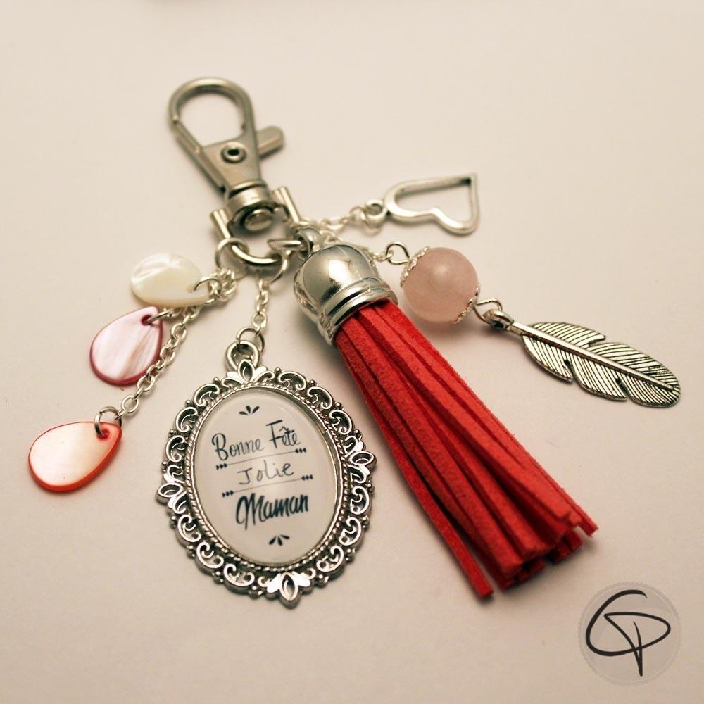 porte-clé pour sac pompon rouge rubis maman cadeau original bonne fête des mères