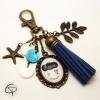 Porte-clé de sac pompon bleu marine personnalisé maman on t'aime cadeau original mamans