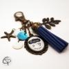 Porte-clef pour sac pompon bleu personnalisé maman on t'aime cadeau original fait main