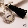 Cadeau original personnalisé porte-clé pour sac à main maman d'amour pompon noir