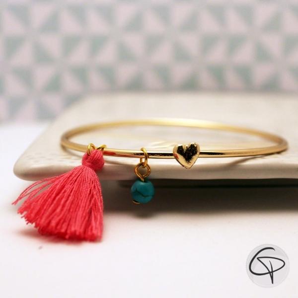 Bracelet doré COEUR et POMPON ROSE