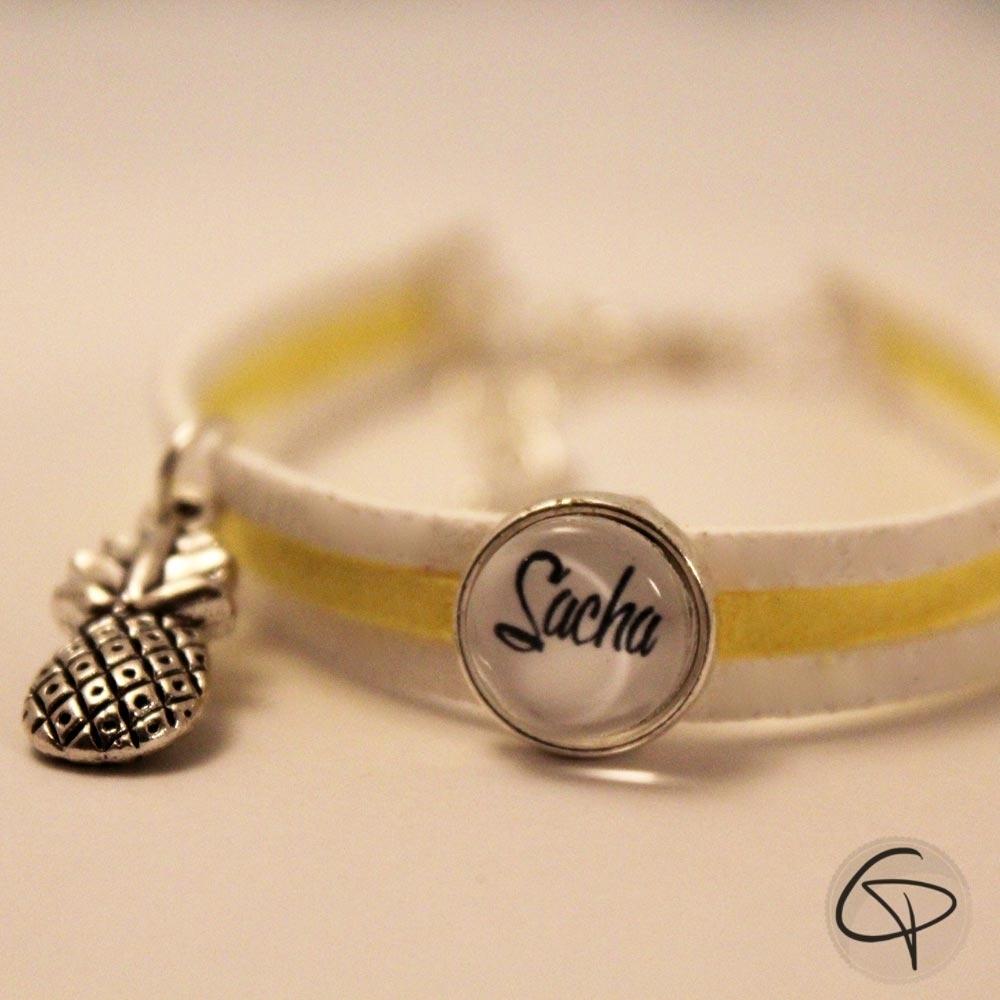 bracelet jaune et blanc personnalisable. Black Bedroom Furniture Sets. Home Design Ideas