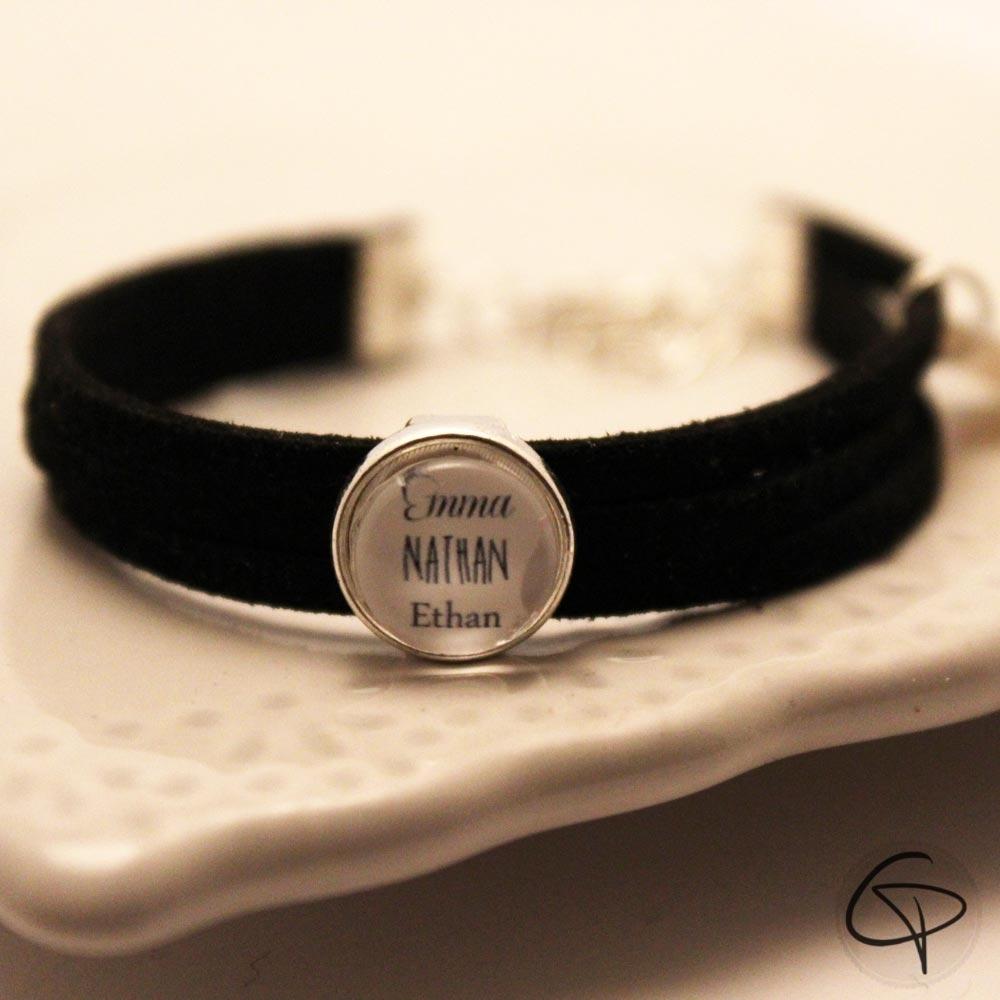 bracelet noir personnalisable. Black Bedroom Furniture Sets. Home Design Ideas