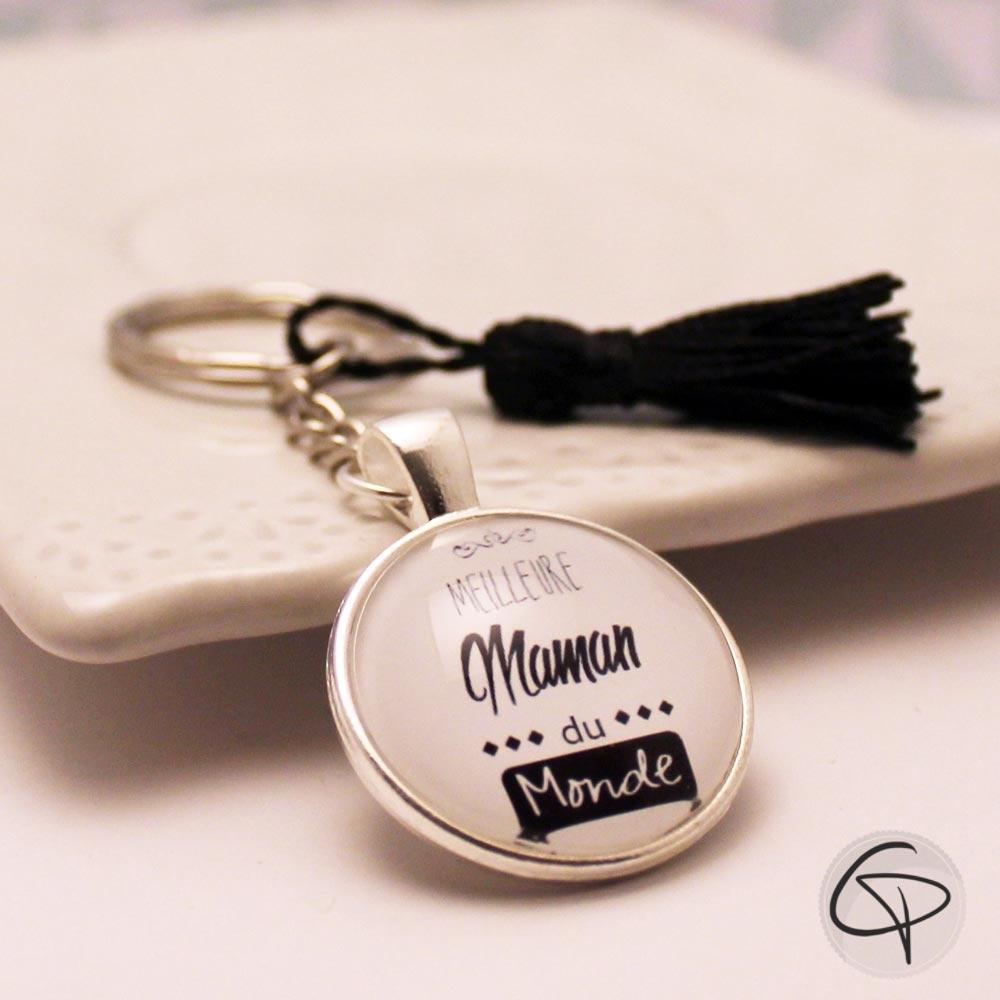 Porte-clé personnalisé meilleure maman du monde cadeau original pompon noir