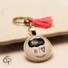 cadeau original fête des mère porte-clef maman on t'aime pompon rose