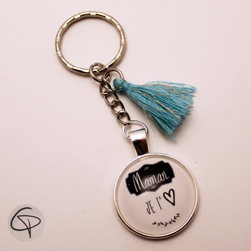 Cadeau original et personnalisé porte-clef maman je t'aime pompon bleu ciel