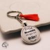 Cadeau original personnalisé belle-mère porte-clé belle maman qui déchire pompon rouge corail