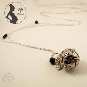 Bola de grossesse grelot et perles en cristal noir breloque coeur bijou femme enceinte