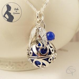 bola de grossesse personnalise pour femme enceinte d'un garçon avec perle bleue