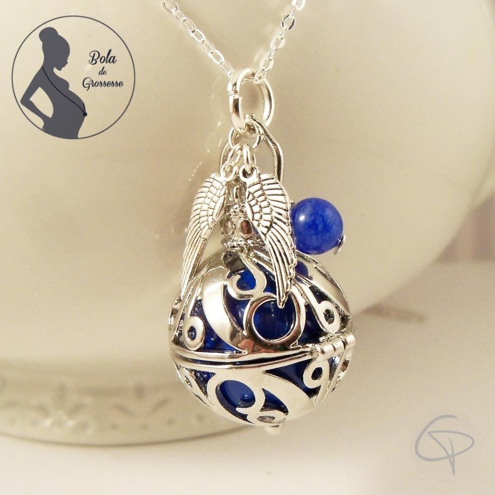 Bola bijou de maternité bola de grossesse grelot musical doux son clochette bleu avec perle bleue et paire d'ailes d'ange garço