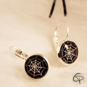 boucles d'oreilles toile araignée halloween bijoux argentés femme
