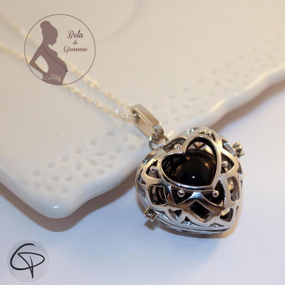Bola de grossesse en forme de cœur avec grelot musical noir