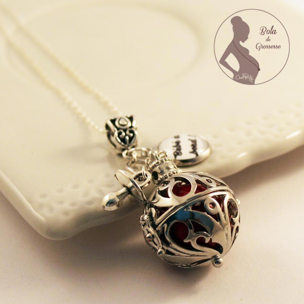 Bola de grossesse personnalisé fille perle musicale rouge tétine bijou femme enceinte