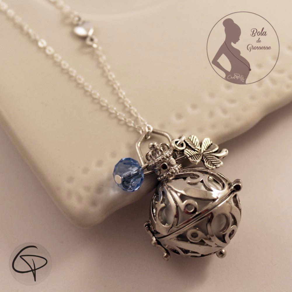 Bola de grossesse grelot musical blanc perle bleue et trèfle bijou femme enceinte