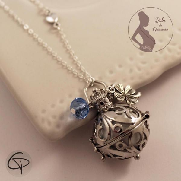 Bola de grossesse grelot blanc et perle bleue