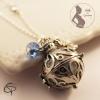 Bola de grossesse boule musicale blanc perle bleue et trèfle bijou femme enceinte
