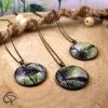 Bijoux tropicaux originaux sautoirs pendentif palmier dans médaillon