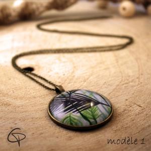 Long sautoir feuille de palmier bijou tropical original