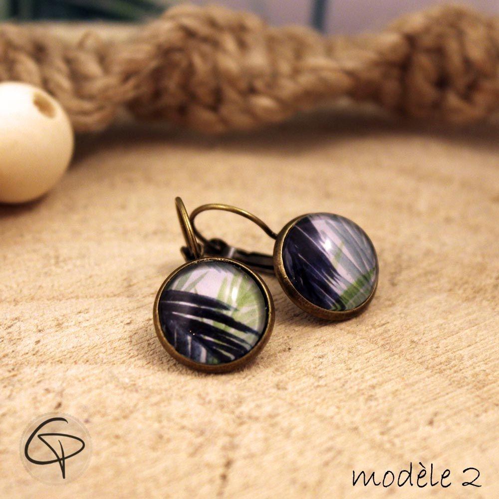 boucles d'oreilles feuille de palmier bijoux motif tropical