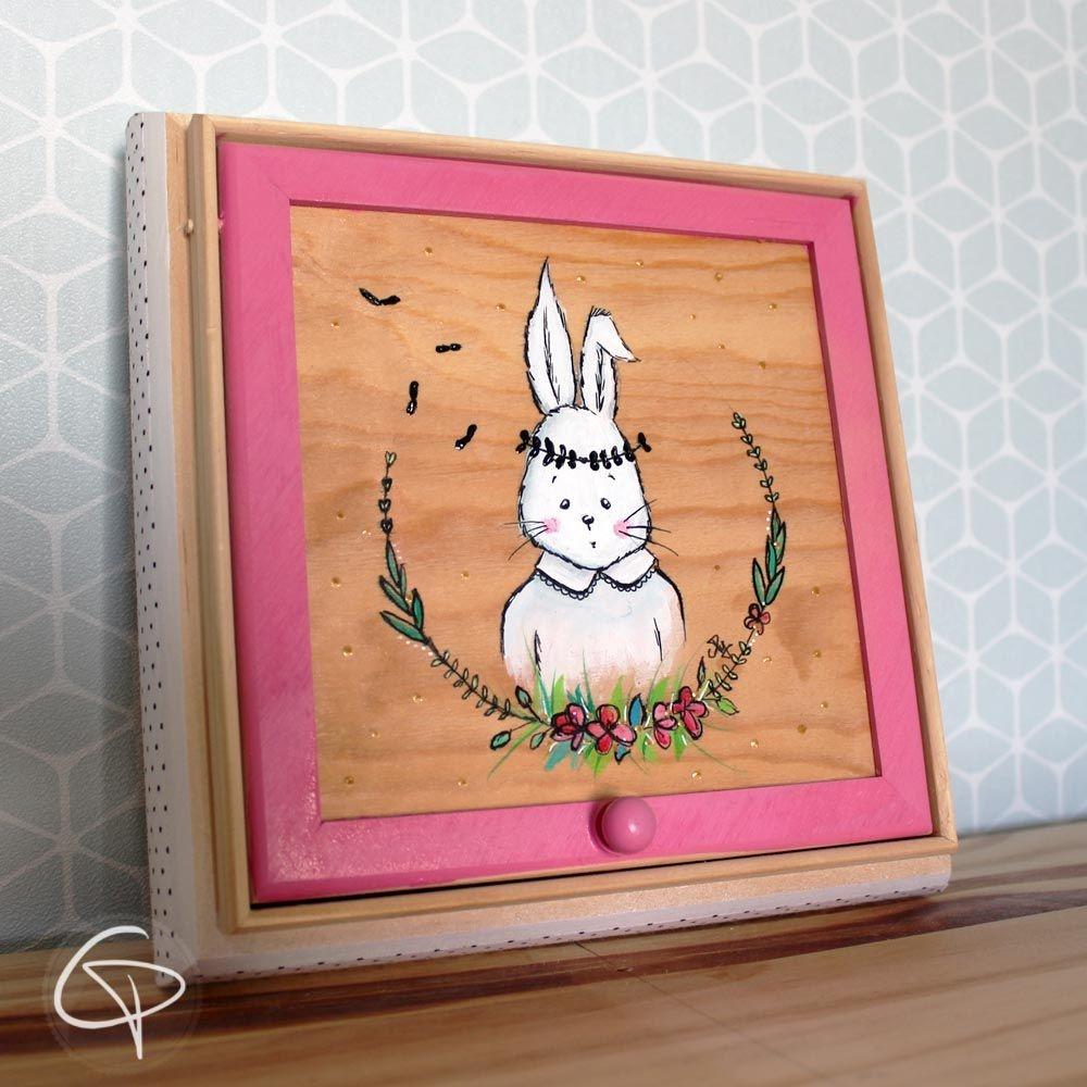 Boîte à trésor pour enfant lapin coffret en bois pour enfant garçon fille chat pristy