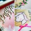 dessin de licorne peint à la main sur boîte en bois pour bébé
