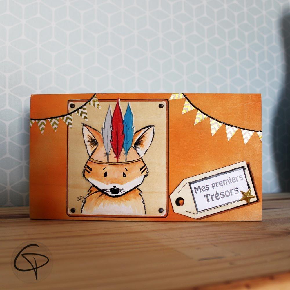 Boîte à trésor indien coffret en bois pour enfant renard garçon ou fille Chat Pristy