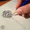 Illustration de clef stylisée dessiné au crayon fait main