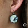 Boucles d'oreilles tropicale dessin feuilles de palmier aquarelle