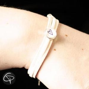 Bracelet BEIGE et BLANC Personnalisable