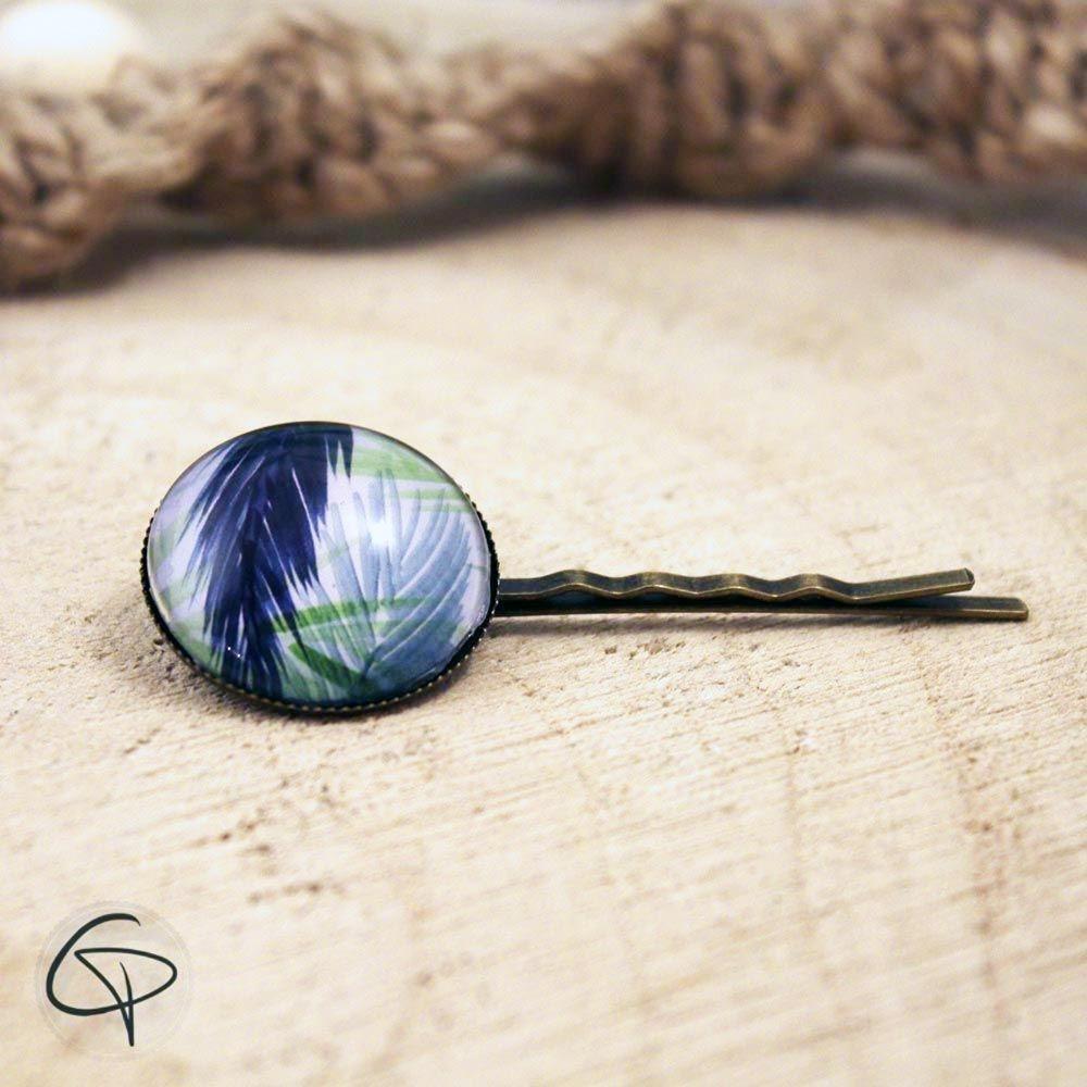 Pince à cheveux tropicale barrette aquarelle feuilles de palmier