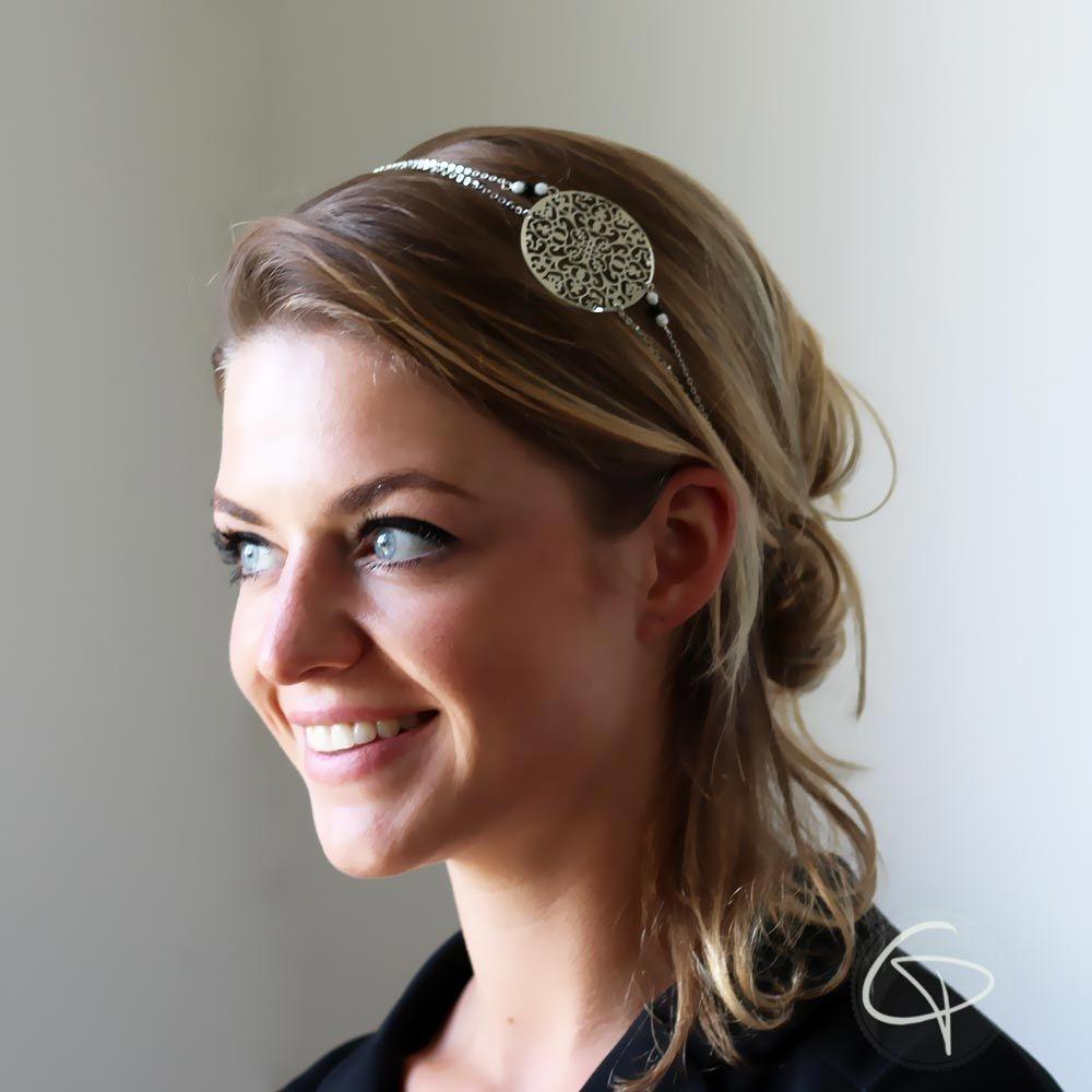 Headband Jade Bijou de tête mariage Chat Pristy