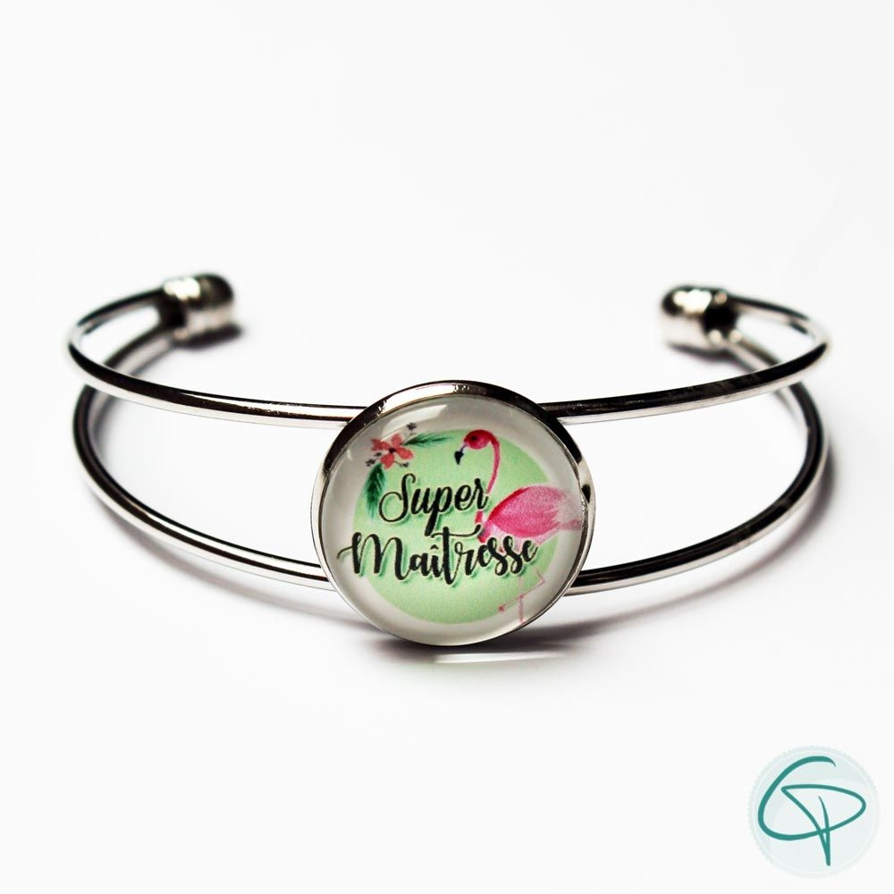 cadeau original maîtresses école bracelet super maîtresse dessin flamant rose