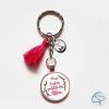 cadeau original gentille atsem porte-clé personnalisable prénom enfant pompon rose fuchsia