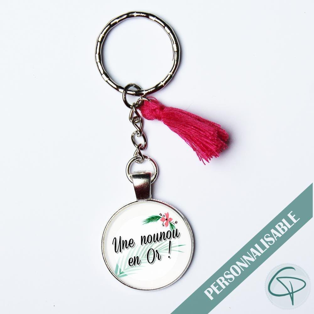 Porte-clé personnalisé nounou en or cadeau original et personnalisable pour les nounous médaillon rond pompon rouge