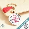 cadeau original atsem porte-clé personnalisable pompon rose