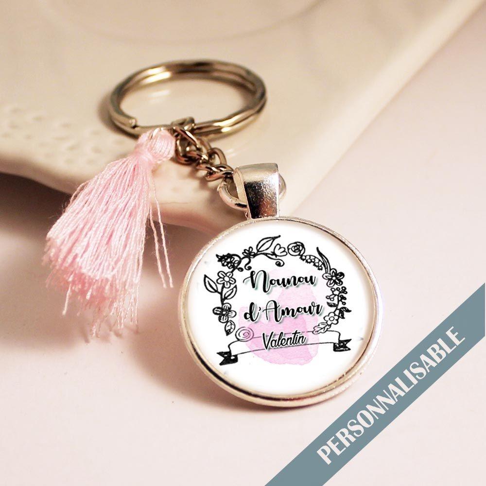 Porte-clef nounou personnalisé avec prénom enfant